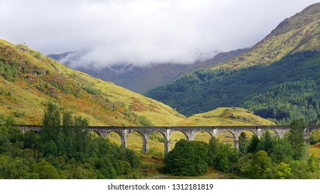 Panoramic view of Glenfinann Viaduct, Scottish Highlands