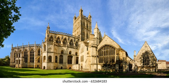Panoramic view of Gloucester Cathedral Church of St Peter and the Holy and Indivisible Trinity on a sunny day