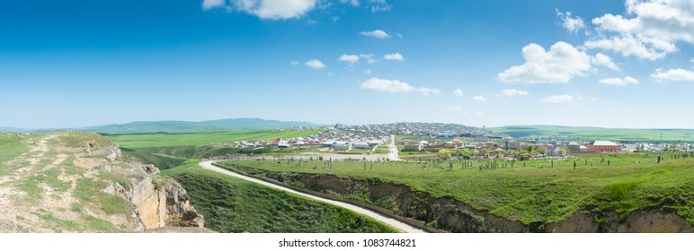 Panoramic view of the Gobustan town, Azerbaijan, Gobustan district