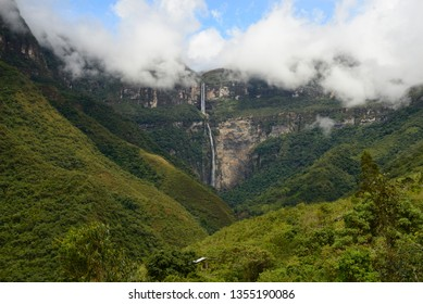 Panoramic view of the Gocta waterfall in Amazonas - PERU