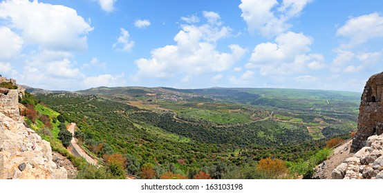 Panoramic view of the Golan Heights from fortress Nimrod - the medieval fortress located in northern part of the Golan Heights, on a crest about 800 m high above sea level. National park, Israel