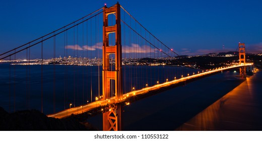 Panoramic view of the  Golden Gate bridge by night in San Francisco - USA