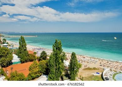 Panoramic view of Golden Sands beach, Bulgaria