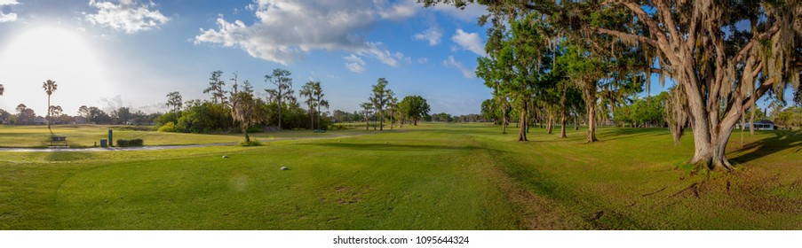 Panoramic view of golf course in the afternoon in florida