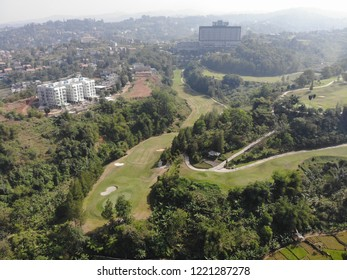Panoramic view of golf course taken from the edge of Dago Hills Bandung, West Java Indonesia. As you can see the sights of Bandung city from a distance