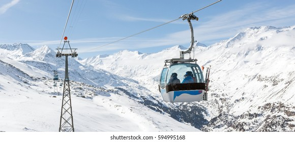 Panoramic view of the Gondola lift at the ski resort of Hochgurgl in the Austrian Alps