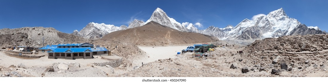 Panoramic view of Gorak Shep village, Nuptse, Pumo Ri and Kala Patthar view point,  latest lodges on the way to Everest base camp tekking trail, Sagarmatha national park, Khumbu valley, Nepal