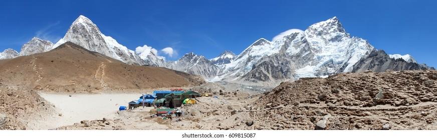 Panoramic view of Gorak Shep village an sherpas, Mount Kala Patthar, Pumo Ri, Nuptse and others, Sagarmatha national park, Khumbu valley, Nepal
