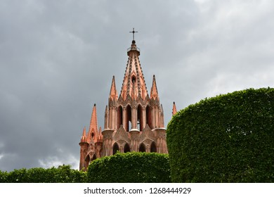 Panoramic view of the Gothic architecture Parroquia de San Miguel Arcángel in the historic town of San Miguel de Allende in Guanajuato Mexico.