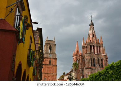 Panoramic view of the Gothic architecture Parroquia de San Miguel Arcángel and Colonial buildings of the  historic town of San Miguel de Allende in Guanajuato Mexico.