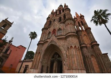 Panoramic view of the Gothic architecture Parroquia de San Miguel Arcángel emblem of the historic town of San Miguel de Allende, Guanajuato Mexico.