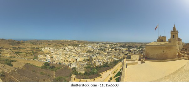 Panoramic view of Gozo Malta, view from Capital Victoria