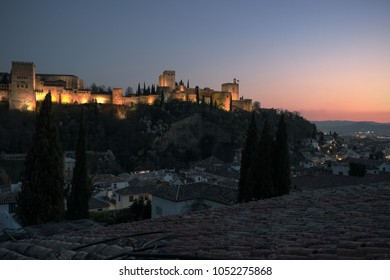 Panoramic view of Granada in Andalucia Spain with Alhambra skyline. A view of the city of Granada in Andalucia in Spain with the Alhambra palace, and the Albaicin district homes.