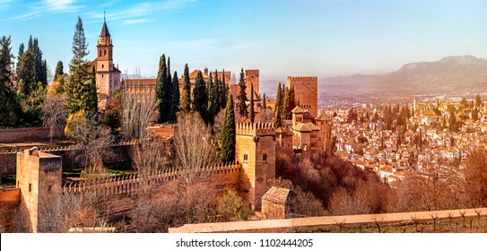 Panoramic View of Granada city, Palace and fortress complex Alhambra, Neighborhood of the Albaicin. Granada, Andalusia, Spain.