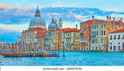 Panoramic view of the Grand Canal in Venice at twilight, Italy