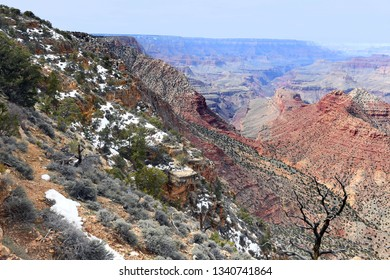 Panoramic View of the Grand Canyon after snow fall