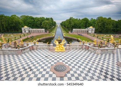 Panoramic view of The Grand Cascade fountain and Grand Palace in Petergof in Saint Petersburg, 22 June 2015, Russia