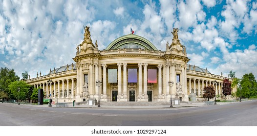 Panoramic view of Grand Palais (Great Palace) in Paris, France. Grand palais has more than 1.5 mln visitors per year, no people