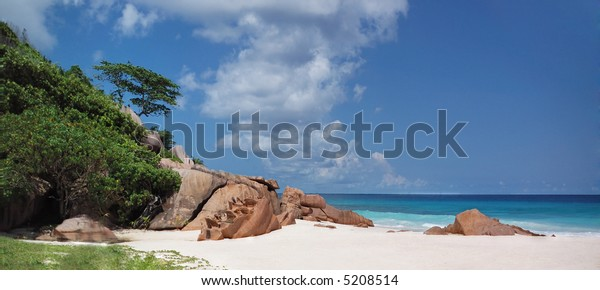 Panoramic view of Grande Anse tropical beach, Seychelles, La Digue,