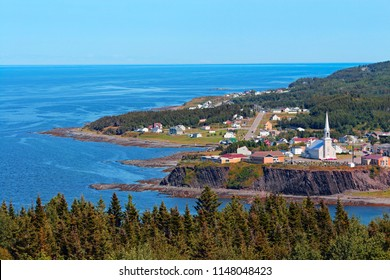 panoramic view of Grande-Vallee in Quebec, Canada