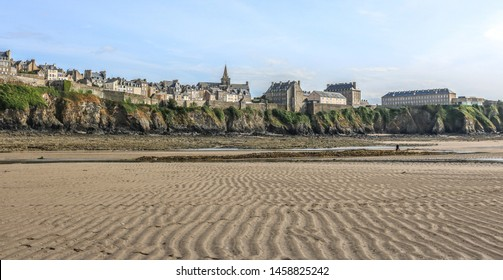 Panoramic view of Granville from the beach. Region English Channel, Normandy. France.