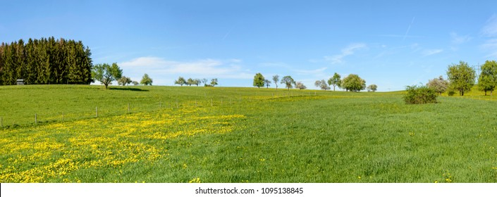 panoramic view of green blossoming springtime hilly countryside , shot in bright spring light near Rottweil, Baden Wuttenberg, Germany