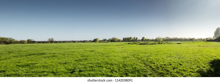 panoramic view of green fields in  houghton in Cambridgeshire england