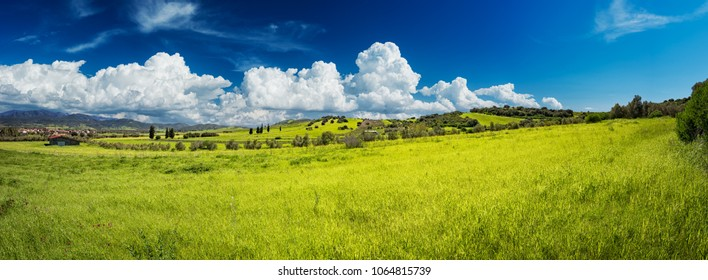 Panoramic view green grass and on the hill on sunny spring day. Green grass field on small hills and blue sky with clouds