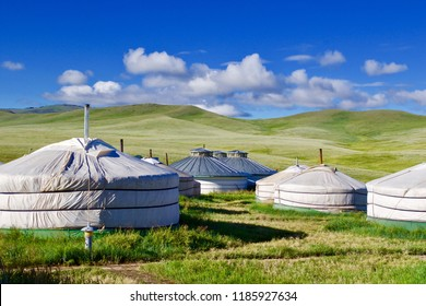 Panoramic view of the green hills in front of the ger camp at the entrance of the Hustai National Park, Mongolia