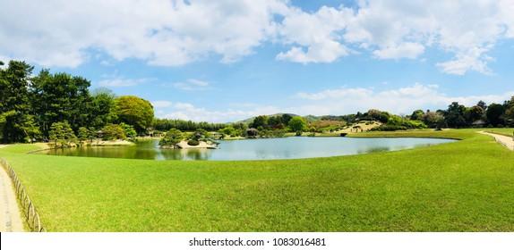 Panoramic view of green Japanese garden Korakuen garden in Okayama city for background