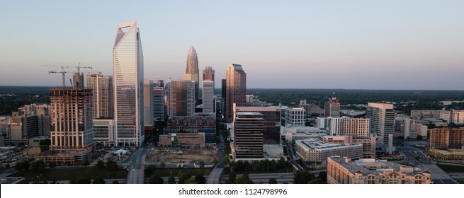 Panoramic view of the growing cityscape and buildings of Charlotte NC