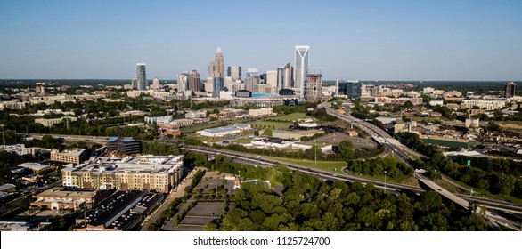 Panoramic view of the growing cityscape, highways and buildings of Charlotte NC
