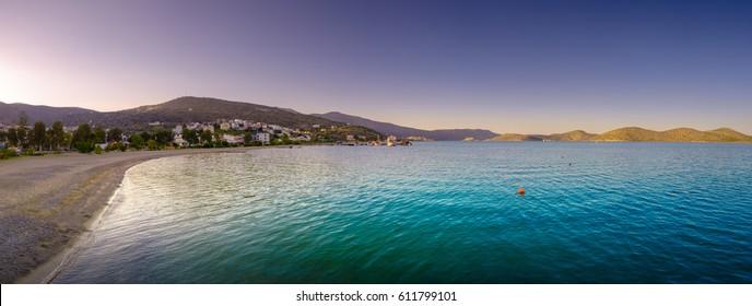 Panoramic view of the gulf of Elounda with the famous village of Elounda and the island of Spinalonga, Crete, Greece.