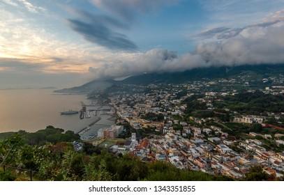 Panoramic view of the gulf and Lacco Ameno, Ischia