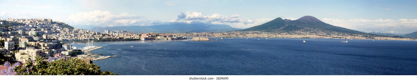 Panoramic view of the gulf of Naples with mount Vesuvius in the background