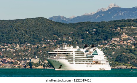 Panoramic view of the Gulf of poets with cruise ship and the Castle of Lerici in the background, Liguria, Italy
