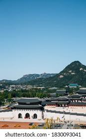 Panoramic view of Gwanghwamun Gyeongbokgung Palace with mountain in Seoul, Korea