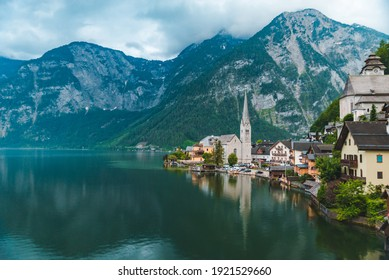 panoramic view of hallstatt village austria copy space