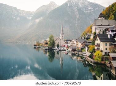Panoramic view of Hallstatt village, and lake in Austria. Hallstatt village in early Fall season.
