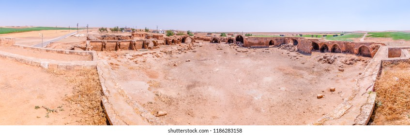 Panoramic view of Han El Ba'rur,a Seljuk caravanserai in Harran,Sanliurfa,Turkey.