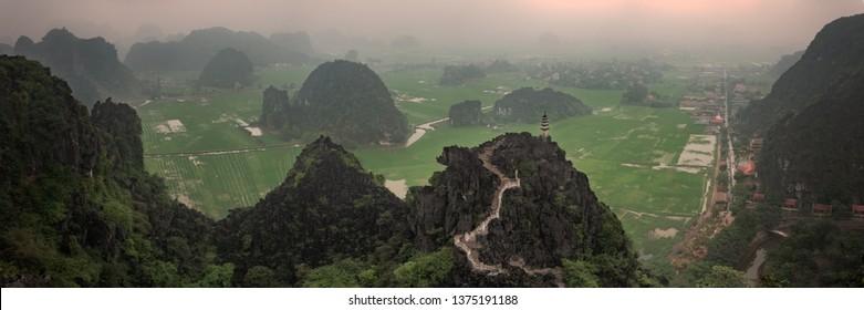 Panoramic View from Hang Mua Peak, Tam Coc, Nimh Binh, Vietnam