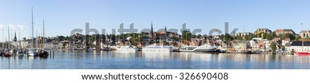 Panoramic view of harbor and cityscape of Flensburg