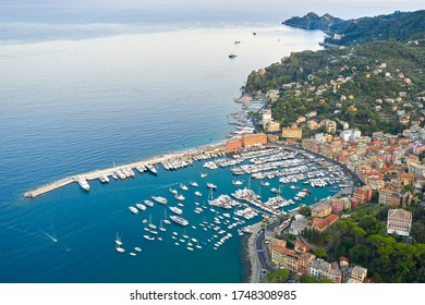 Panoramic view of a harbor in Ligurian Sea, Santa Margherita Ligure, Italy. Colorful houses on a seashore