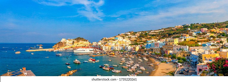 Panoramic view of the harbor and port at Ponza, Lazio, Italy. Ponza is the largest island of the Italian Pontine Islands archipelago.