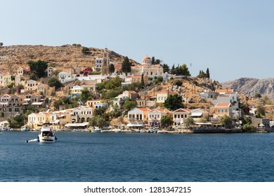 panoramic view of the harbor of Symi