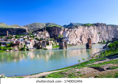 Panoramic view of Hasankeyf in Batman City / Turkey. The ancient city of Hasankeyf, built on and around the banks of the river in southeastern Turkey.
