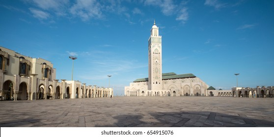 Panoramic view of the Hassan II Mosque in Casablanca. It's the largest mosque in Morocco and the 13th largest in the world.