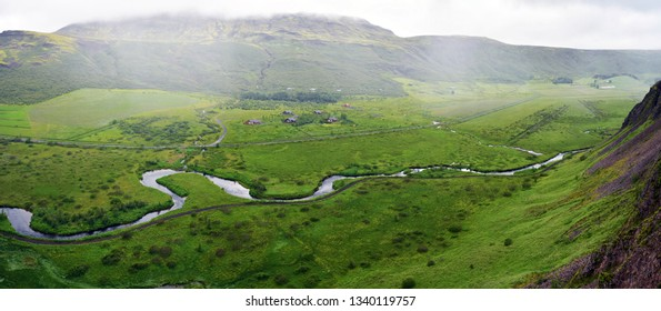 Panoramic view of Haukadalur Vally from Laudarfjall hill in Southwestern Iceland, Geysir area.
