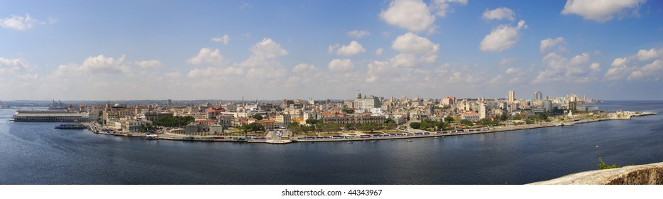 Panoramic view of havana cityscape and bay entrance under blue sky