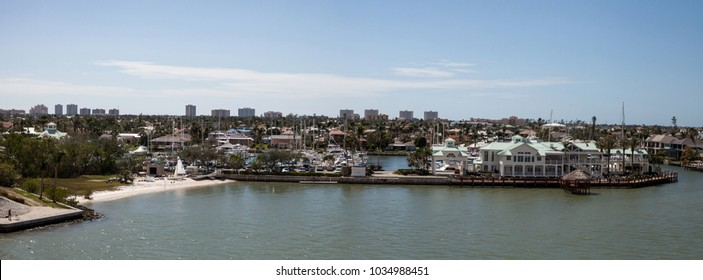 Panoramic view headed onto Marco Island, Florida from Collier Boulevard 951 with the bay ocean view.